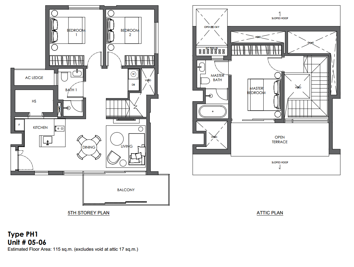 10 evelyn floor plan 3 bedroom penthouse type ph1